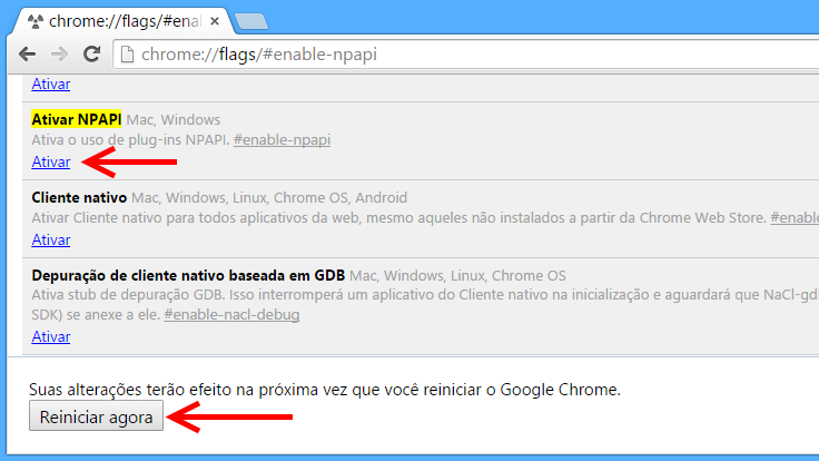 Como reativar plugin Java no Chrome