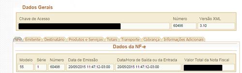 Eis os dados gerais da NFe, incluindo campo pra Chave de Acesso. Foto: Reprodução