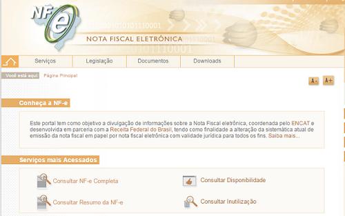 Este é o portal da Nota Fiscal eletrônica, a NFe. Foto: Reprodução