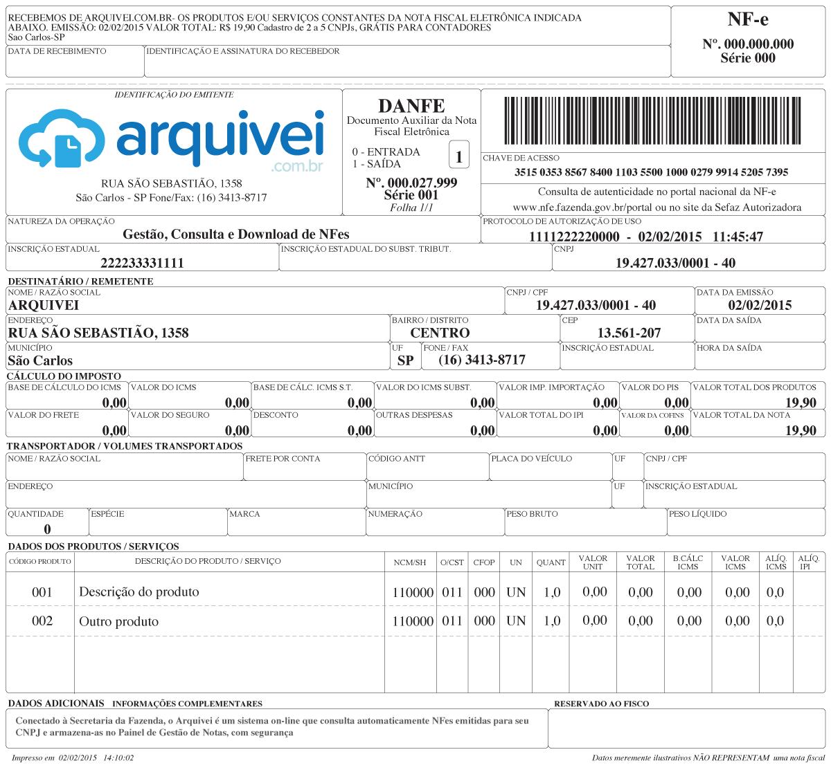 Eis o Documento auxiliar de Nota Fiscal eletrônica. O Arquivei gera automáticamente a DANFe da NFe que foi emitida para o seu CNPJ. Foto: Reprodução