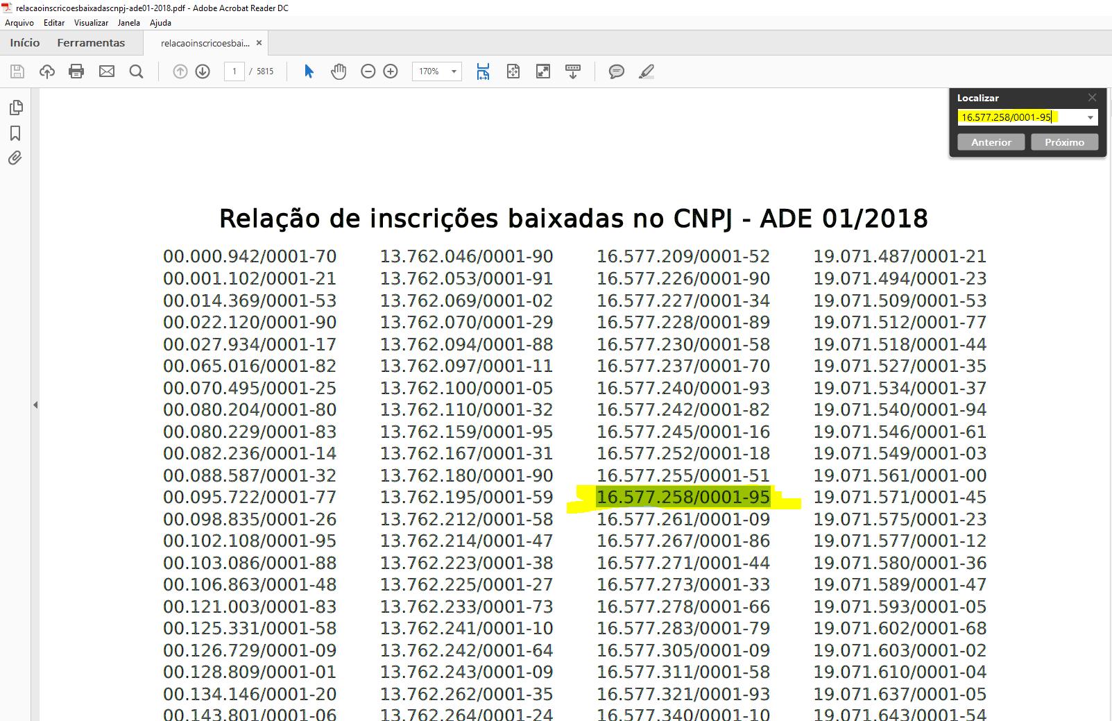 Busca por CNPJ no PDF