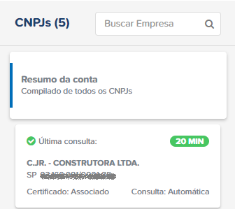 CNPJ painel principal Arquivei