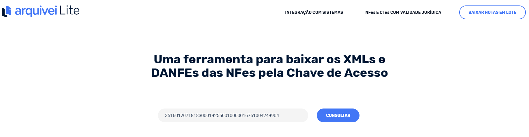 Consultar NFe por chave de acesso com Arquivei Lite